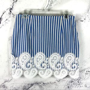 English Factory striped lace trim mini skirt Sz M
